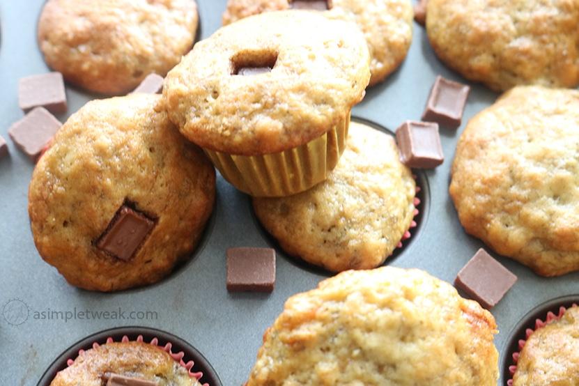 Chocolate banana bread mini muffins