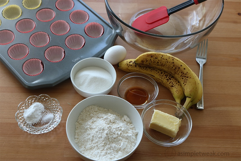 ingredients for Chocolate, banana bread mini muffins