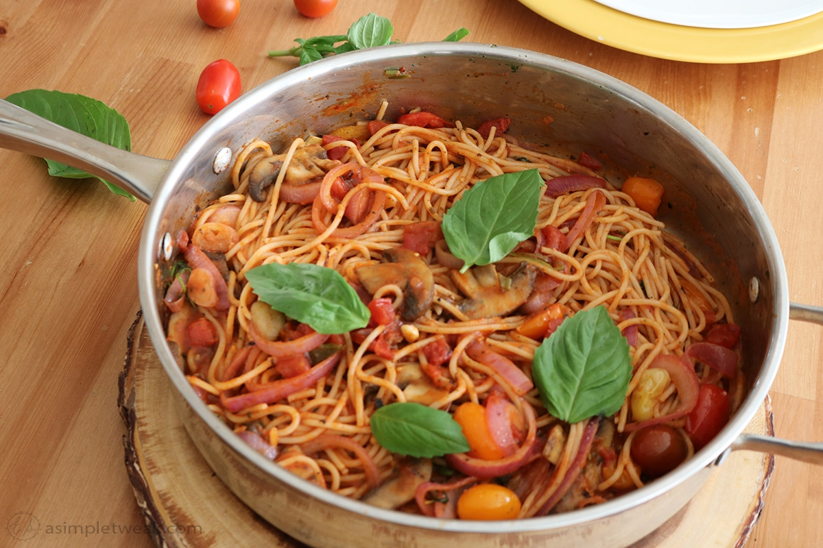 Spaghetti with Fire Roasted Crushed Tomato Sauce