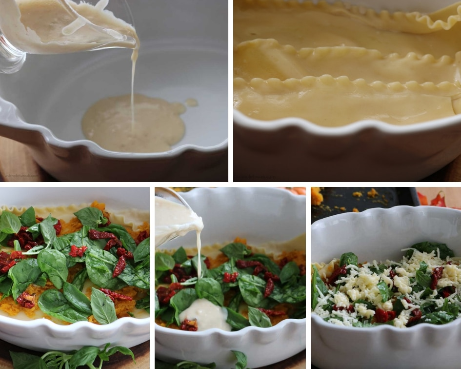 a white baking pan, cheese sauce, spinach, basil and noddles