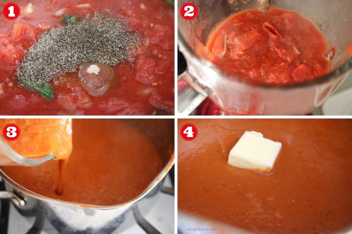 Second Steps to make Tomato Basil Sauce