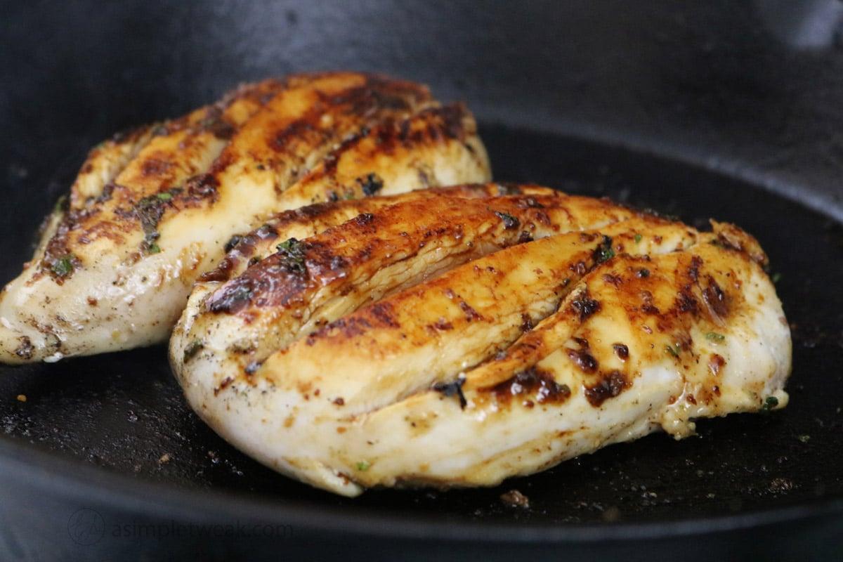 honey-mustard chicken breast in cast iron by asimpletweak