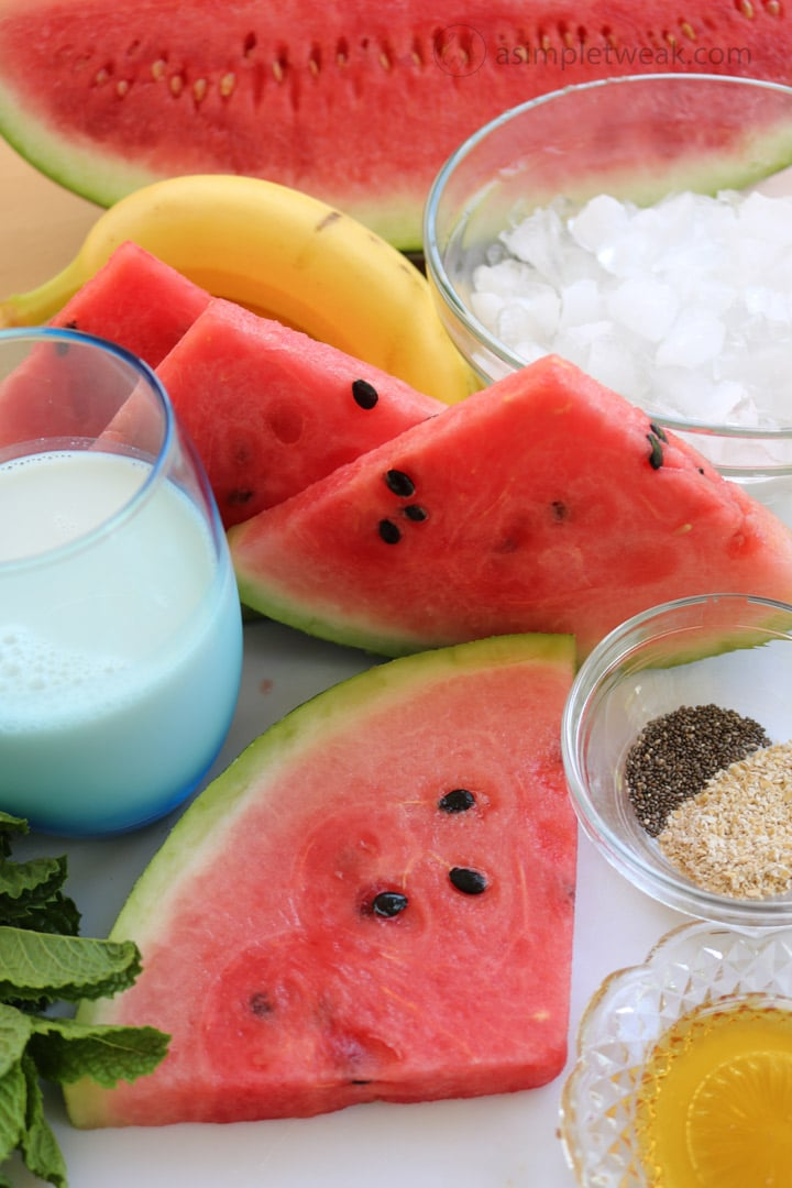 Ingredients-for-watermelon-banana-smoothie