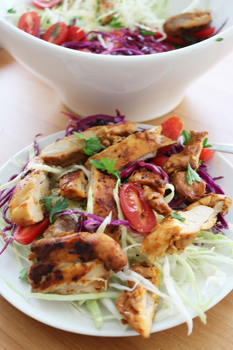 Chicken Thighs with Cabbage Salad