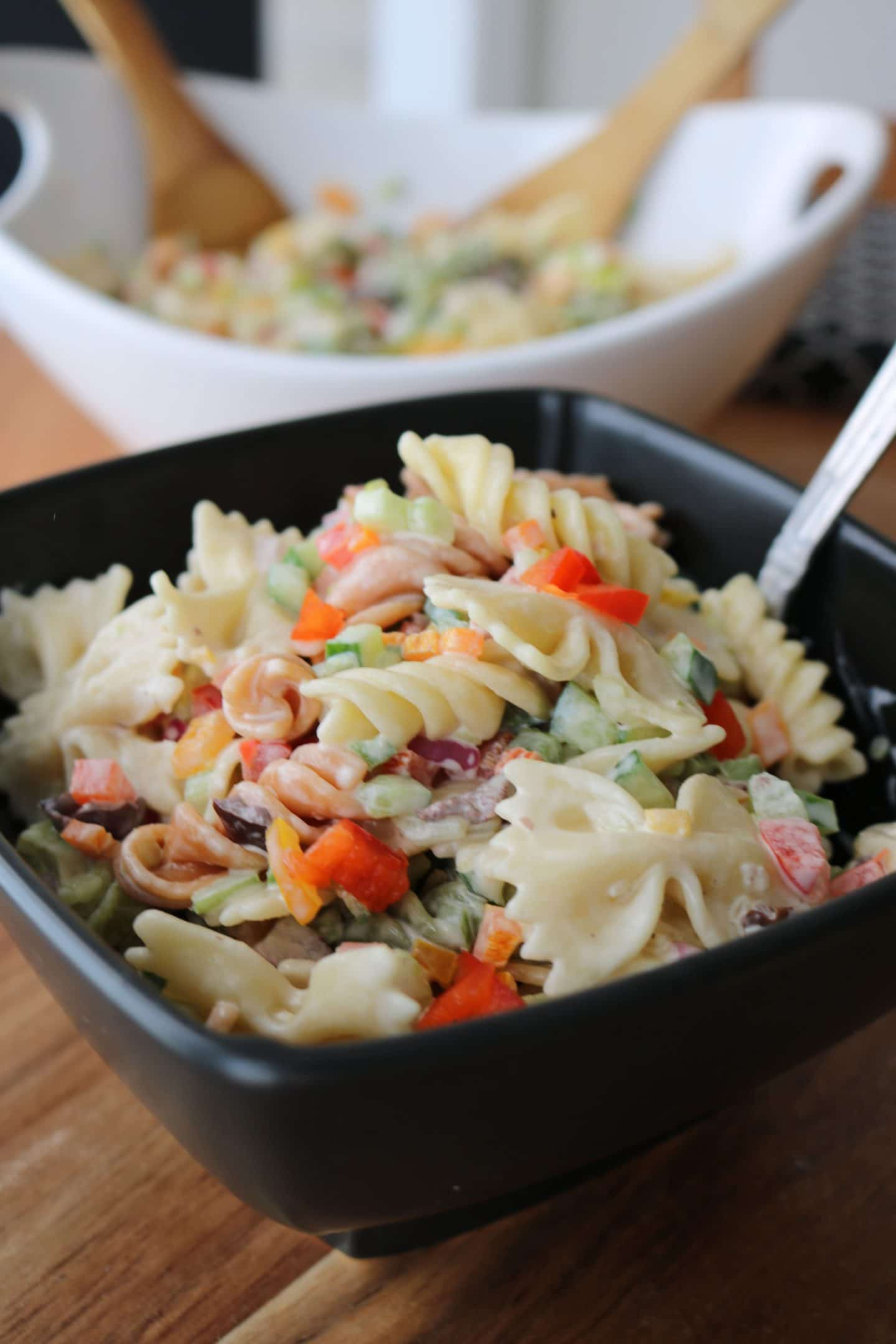 A Bowl of Vegetarian Pasta Salad