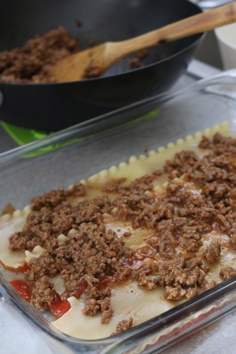 Then,-place-the-first-layer-of-noodles,-Add-the-first-layer-of-ground-beef,