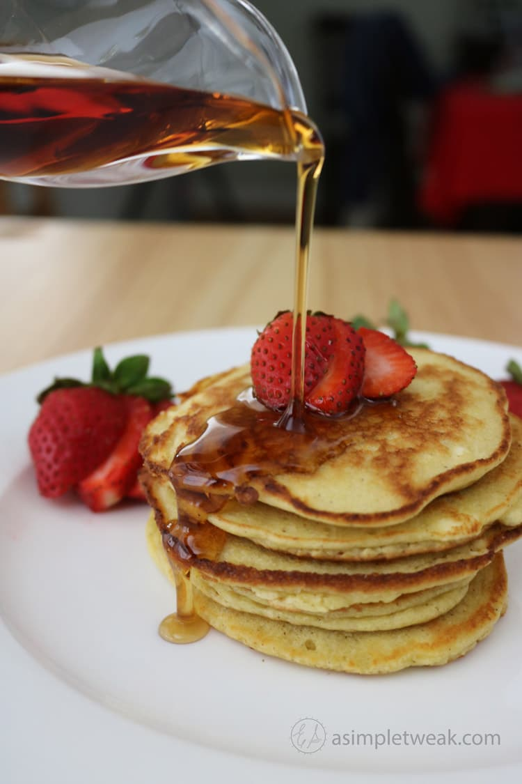 What's for breakfast today? These low-carb pancakes that taste delicious! These are quick to make and even quicker to make disappear.