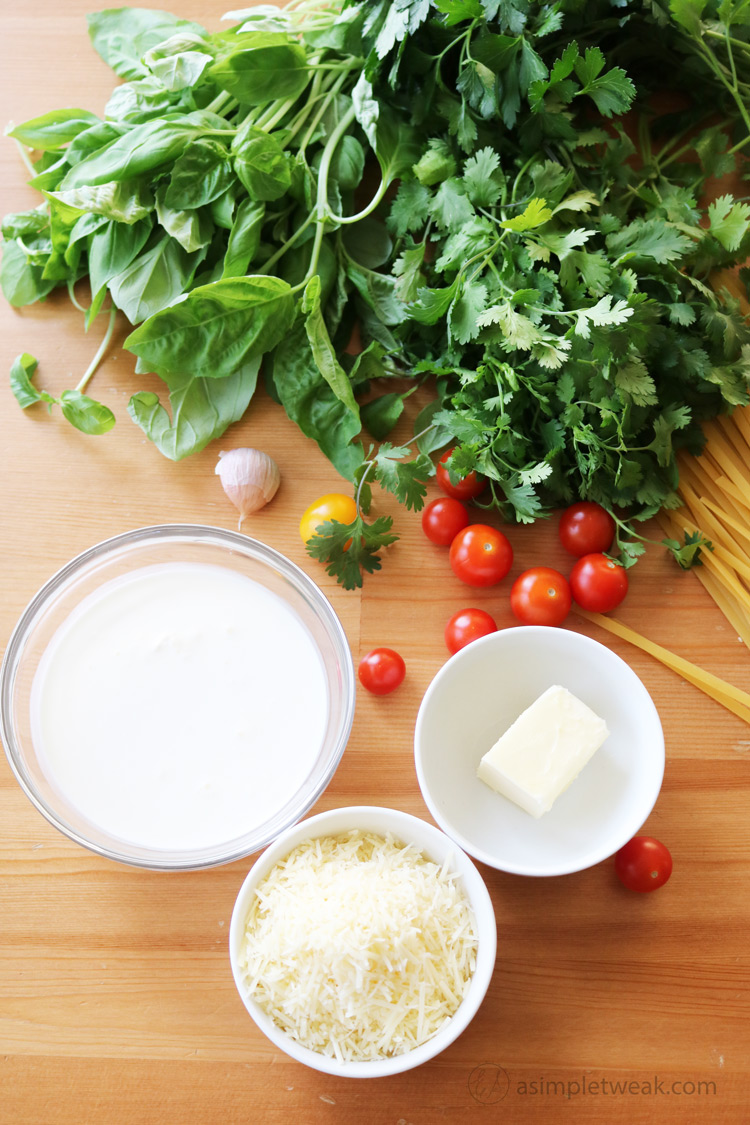 ingredients-for-Fettuccine-with-garlic-herb-butter-sauce